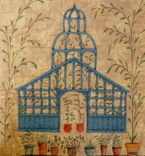 The Gazebo is illustrated with a black pigment ink pen and then the plants drawn around it