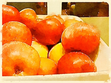 apples in a bowl in the qantas club.