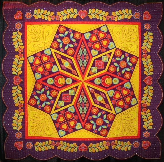 Take 3 fabrics, Just add thread. Mary Reinhardt, Page Johnson, Jan Malmqvist and dee Legvold, Rosemont, Minnesota. USA