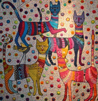 The long Necked cats and the long necked bird. Kathy York, Austin Texas, USA